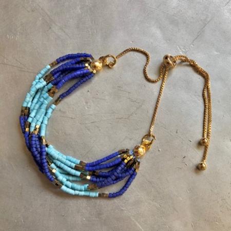دستبند از سنگ فیروزه و سنگ لاجورد لوله ای