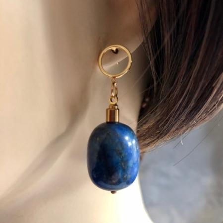 گوشواره از سنگ لاجورد بشکه ای